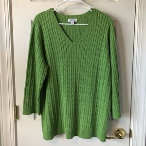 XL 3/4 Sleeve Green Cable Sweater NWOT